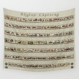 Bayeux Tapestry on cream - Full scenes and description Wall Tapestry