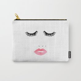 Printable Art,Makeup Print,Makeup Illustration,Lips Print,Lashes Art,Gift For Her,Bedroom Decor Carry-All Pouch