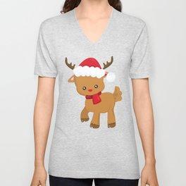 Cute Reindeer, Reindeer With Santa Hat, Red Nose Unisex V-Neck