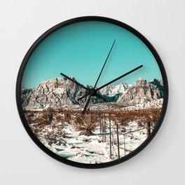 Vintage Desert Fence // Red Rock Canyon Winter Snow Mountain Range Landscape Photograph Wall Clock