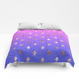 Pink Purple Blue Gradient With Rose Gold Unicorn Pattern Comforters