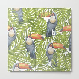 Watercolor Toucan Painting With Tropical Leaves Pattern Metal Print