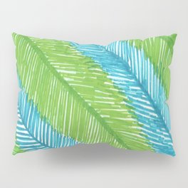 Blue and Green Palm Leaves Pillow Sham