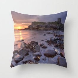 Spectacular sunrise at Kinbane Castle in Northern Ireland Throw Pillow