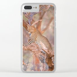 Leopard on a tree Clear iPhone Case