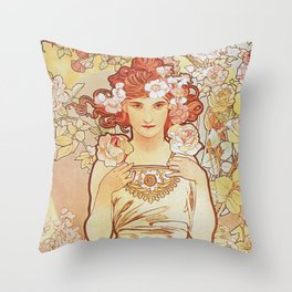Rose by Alphonse Mucha 1897 // Vintage Girl with Red Hair Floral Love Design Throw Pillow