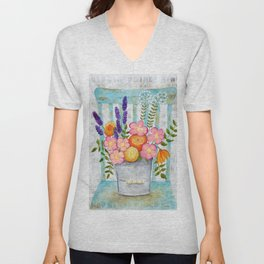 Old chair with flowers Unisex V-Neck