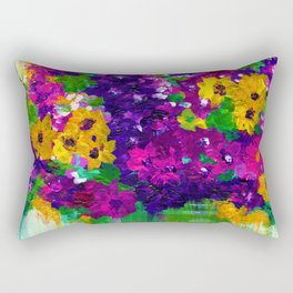 Colorful painted bouquet of flowers Rectangular Pillow