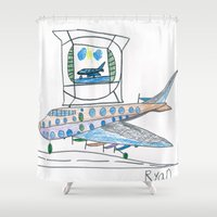 channel Shower Curtains featuring The Airplane Channel by Ryan van Gogh