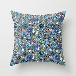 Ernst Haeckel Ocean Diatoms Over Blue Sea Squirts Throw Pillow