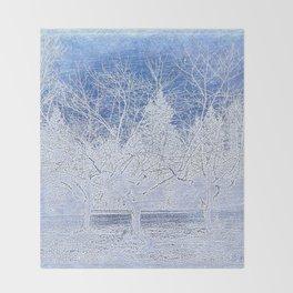 Tree | Trees | Blue Winter Landscape | Nadia Bonello Throw Blanket