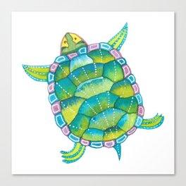 Tropical sea turtle - turquoise aqua blue Canvas Print