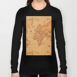 World Map LeaTher Long Sleeve T-shirt