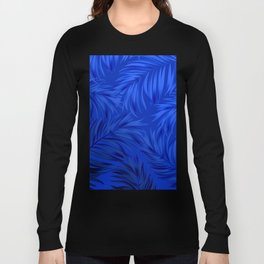 Palm Tree Fronds Brilliant Blue on Blue Hawaii Tropical Décor Long Sleeve T-shirt