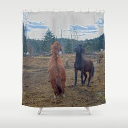 The Challenge - Ranch Horses Fighting Shower Curtain