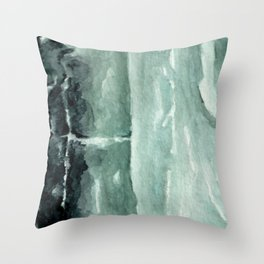 Green Calcite Crystal Watercolor Throw Pillow