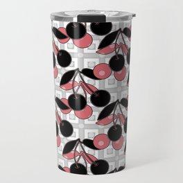 Black and pink pattern . Cherry . Travel Mug