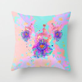 Colorful Watercolor Flower Throw Pillow