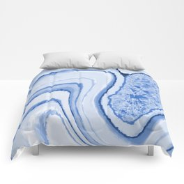 Blue Crystal Watercolor Effect Design Comforters
