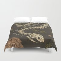 skateboard Duvet Covers featuring Snake Skeleton by Jessica Roux