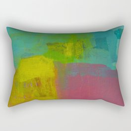Matt's Abstract Painting Other World Landscape of Leroy's Hair Squares in Teal Pink and Yellow  Rectangular Pillow