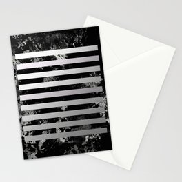 Industrial Action - Metallic, black and white, abstract, geometric, textured painting Stationery Cards