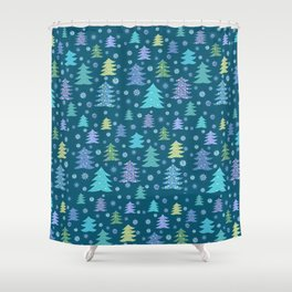 Winter Holidays Christmas Tree Green Forest Pattern Shower Curtain