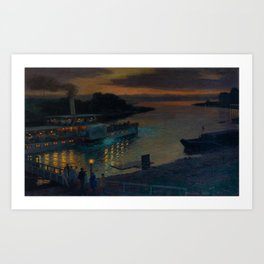 A Nightly River Cruise, Mississippi River by Ernst Max Pietschmann Art Print