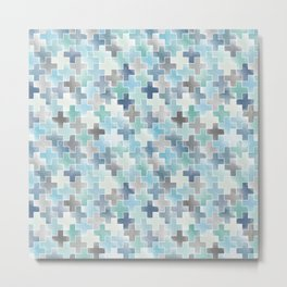 Watercolor cross tiles in light blue and turquoise Metal Print