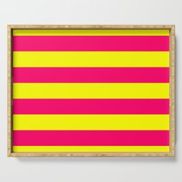Bright Neon Pink and Yellow Horizontal Cabana Tent Stripes Serving Tray