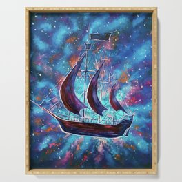 Original art for Sale Travel in space on an old sailing ship. Pirates, Peter. A ship Pan art Serving Tray