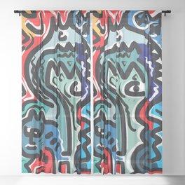 Life Energy Pop Art Graffiti Abstract Design Sheer Curtain