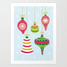 Vintage Christmas Ornaments Art Print