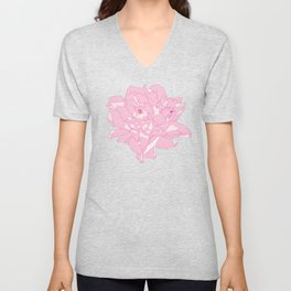 Pink and White Peony Flower Summer Garden Illustrated Print Unisex V-Neck