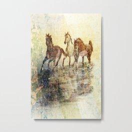 Vintage Horses Colours Metal Print