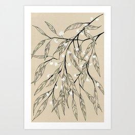 Line Drawing Leaves #3 Art Print