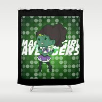 magical girl Shower Curtains featuring Magical Girl Hulk by monobuu