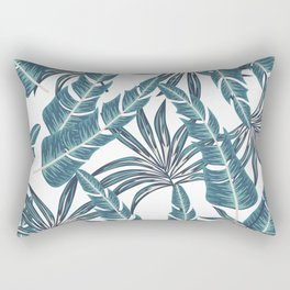 Botanical seamless tropical pattern with bright plants and leaves on a light background. Trendy summer Hawaii print. Colorful stylish floral. Exotic jungle wallpaper. Rectangular Pillow