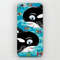 killer whale iPhone & iPod Skins featuring Killer Whale & Fish by markmurphycreative