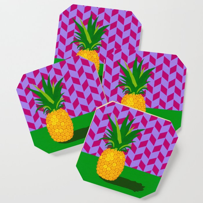 fruit with wallpaper pineapple coasters