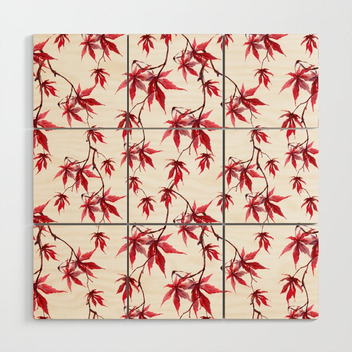 Watercolor Botanical Red Japanese Maple Leaves on Solid White Background Wood Wall Art