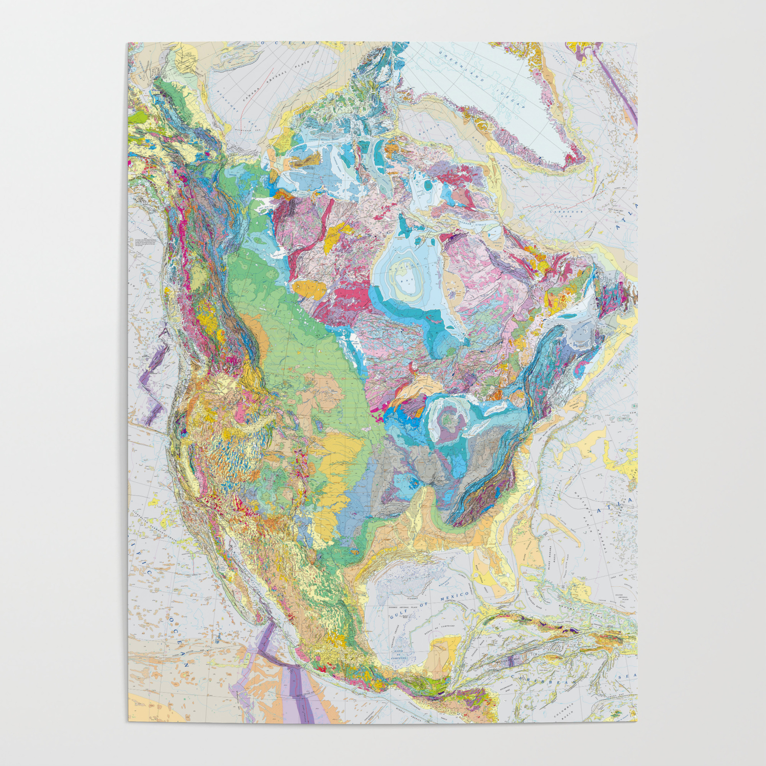 USGS Geological Map of North America Poster by fineearthprints