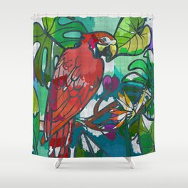 Red parrot macaw tropical print Shower Curtain
