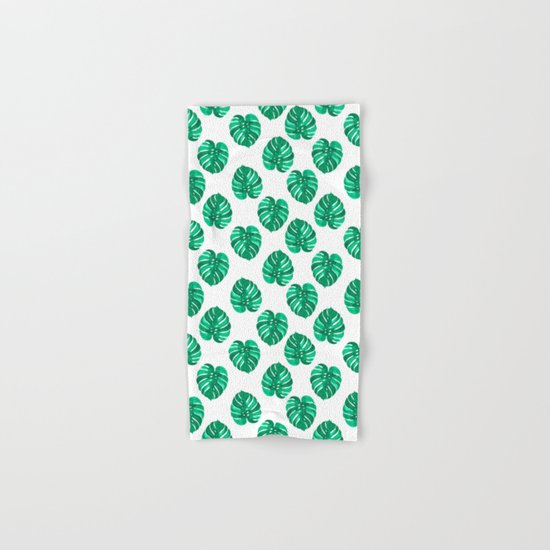 Monstera house plant leaf green painting pattern trendy hipster indoor house plant tropical garden   Hand & Bath Towel