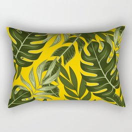 Abstract seamless tropical pattern with bright plants and leaves on a yellow background. Beautiful print with hand drawn exotic plants. Tropical botanical. Exotic wallpaper. Rectangular Pillow