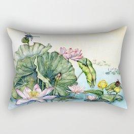 Japanese Water Lilies and Lotus Flowers Rectangular Pillow