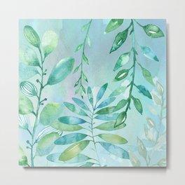 Green Leaves on Watercolor Metal Print