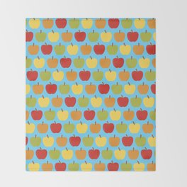 Apples Over Blue Throw Blanket