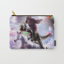 Laser Eyes Space Sloth On Dinosaur Unicorn - Rainbow Carry-All Pouch