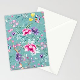 Vintage & Shabby Chic - Chinoserie Pastel Spring Blue Flowers And Birds Garden Stationery Cards